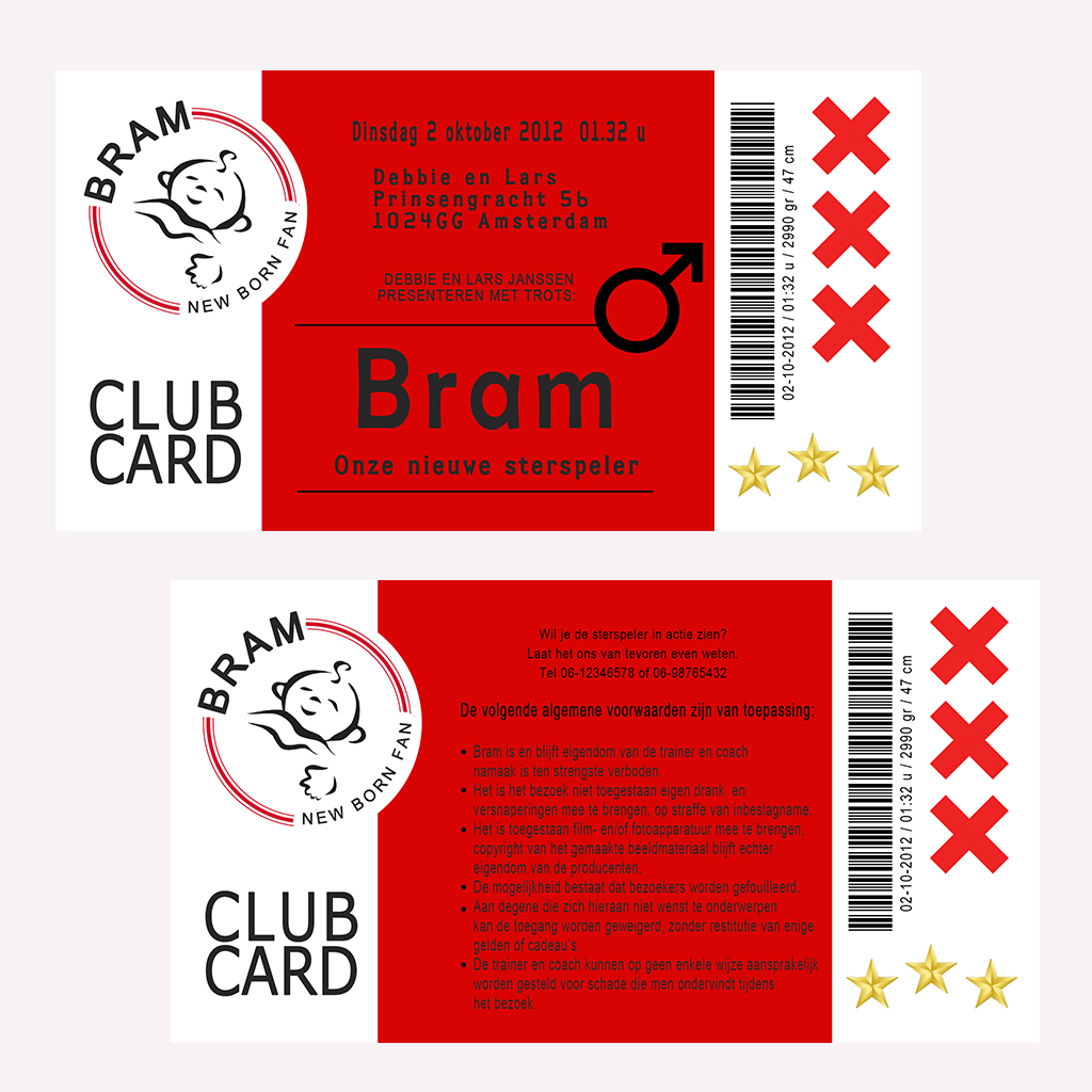 Club Cards Geboortekaartjes ajax
