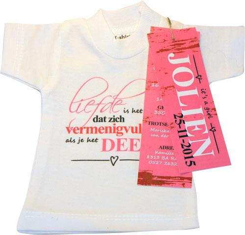 Mini T-Shirtje Geboortekaartje JOLIEN