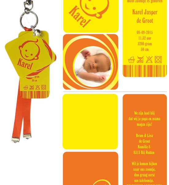 sleutelhanger geboortekaartje